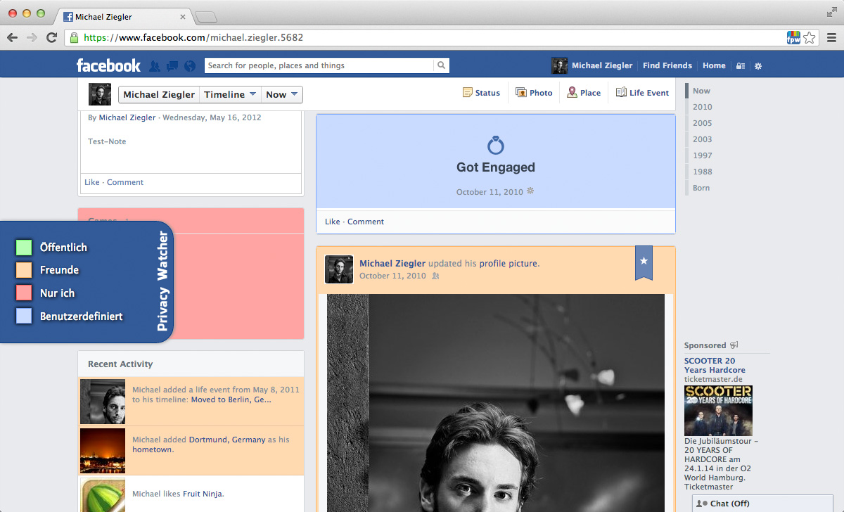 Screenshot Facebook Privacy Watcher